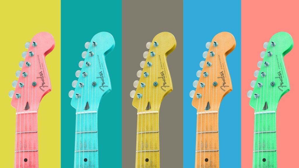Bunte Gitarren Hälse als Symbol für die Referenzen meiner Projekte auf dieser Seite.